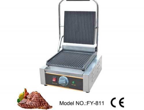 Electric Contact Grill Full Grooved for Panini Sandwich