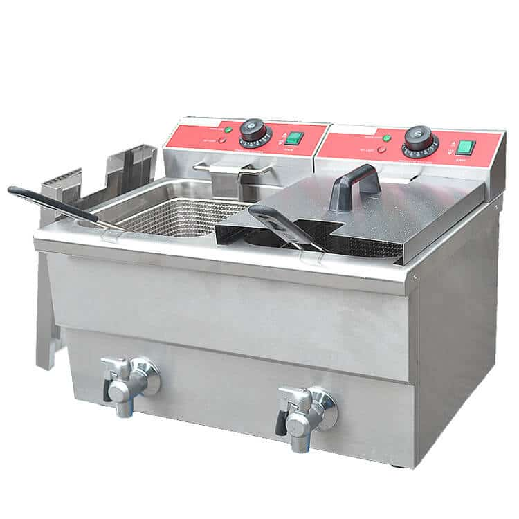 Double deep fryer for commercial use in catering equipment for Equipement cuisine commercial usage